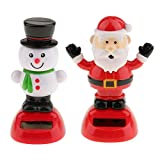 KODORIA 2pcs Solar Powered Toy Christmas Snowman &...