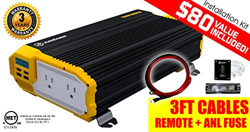 KRIËGER 1500 Watt 12V Power Inverter Dual 110V AC...