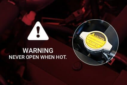 antifreeze coolant hot warning